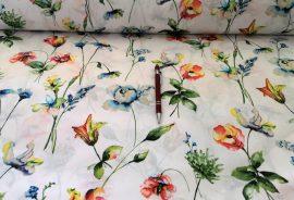 Fehér alapon színes esernyő- állat mintás pamutvászon