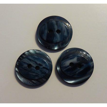 Műanyag gomb, két lyukú, kék színű, átvarrós - 20 mm.