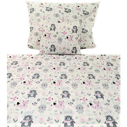 3 részes ágynemű huzat szett rózsaszín - szürke erdei állatos 140x200 cm