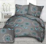 3 részes 100% pamut ágynemű 140x220 cm szürke - kék szíves
