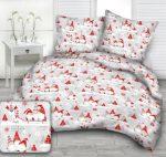 Karácsonyi manós pamut ágynemű huzat 140x200 cm - szürke - piros.
