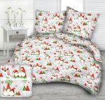 Karácsonyi manós pamut ágynemű huzat 140x200 cm - zöld - piros.
