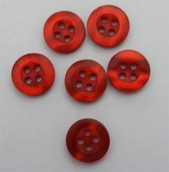 Bordó, négy lyukú, műanyag gomb, átmérő 12 mm, 10db-os kiszerelésben.