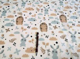 Fehér alapon rózsaszín virág mintás pamutvászon