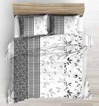 Fekete - szürke - fehér inda mintás ágynemű huzat szett 140x200 cm