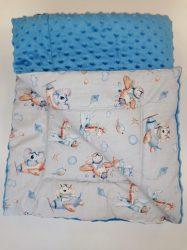 Kétoldalas baba takaró - kék  repülős  - állatos mintával 75x100 cm