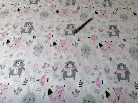 Fehér alapon szürke - rózsaszín erdei állatos pamutvászon