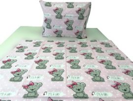Rózsaszín alapon koala macis 2 részes ovis ágynemű huzat