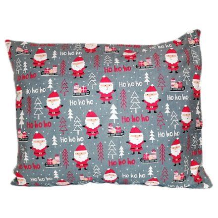 Sötétszürke alapon piros mikulásos karácsonyi kispárna huzat