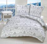Szürke - fehér karácsonyi mintás ágynemű huzat szett 140x200 cm