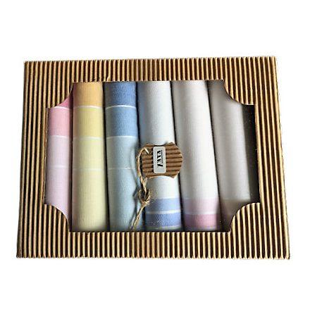 Női textil zsebkendő szett kockás- csíkos