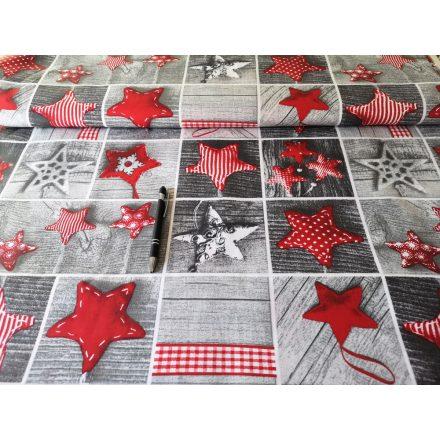 Piros - szürke karácsonyi csillagmintás pamutvászon