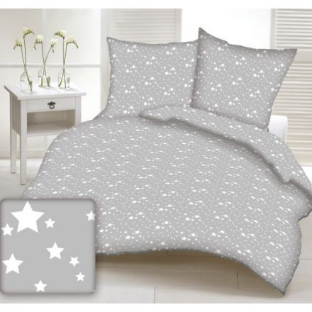 Szürke alapon fehér csillag mintás ágynemű huzat 140x200 cm