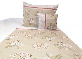 Fehér virág mintás 5 részes ágynemű huzat szett