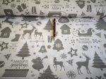 Piros alapon karácsonyi angyalka - fenyőfa mintás pamutvászon