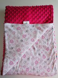 Kétoldalas puha baba takaró 75x100 - pink állatos