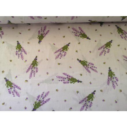 Fehér alapon lila apró virágos pamutvászon 160 cm széles