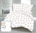 Krepp ágynemű huzat garnitúra 140x200 cm - rózsaszín virágos