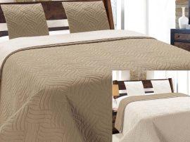 Elegáns, steppelt capuccino - ekrü színű kétoldalas ágytakaró szett