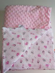 Halvány rózsaszín minkys kétoldalas baba takaró