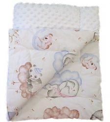 Kétoldalas baba pléd - fehér - rózsaszín erdei állatos mintával