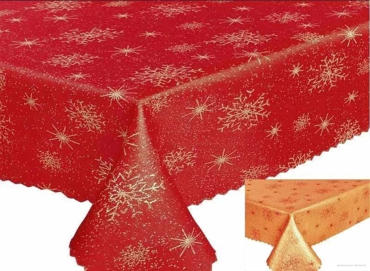 Hópehely mintás asztalközép piros - arany színben 50x100 cm