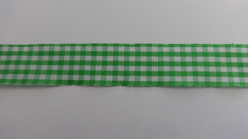 Zöld - fehér kockás textil szalag 12 mm