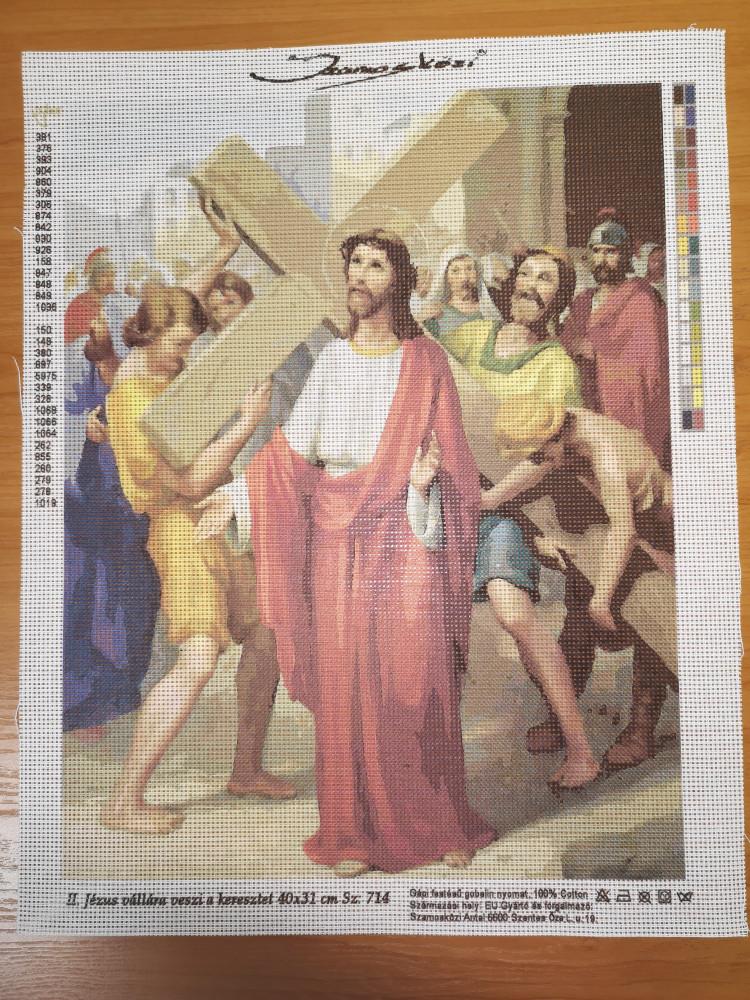 Szamosközi gobelin - 40x31 cm - II.Jézus vállára veszi a keresztet